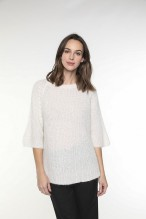 Off-white wool-blended sweater with boat neckline