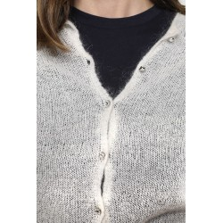 Off-white wool-blended cardigan