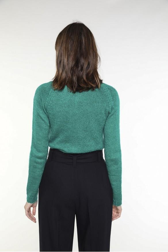 Green wool-blended cardigan