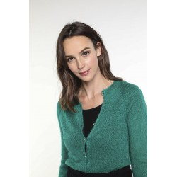 Green wool-blended cardigan