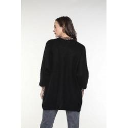 Cardigan à poches en laine mélangée couleur noir