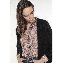 Black wool-blended cardigan with pockets