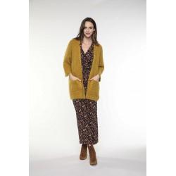 Cardigan à poches en laine mélangée couleur jaune safran