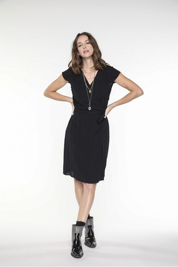 Black viscose wrap dress