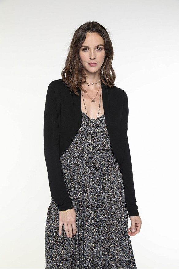 Black cropped cardigan with...