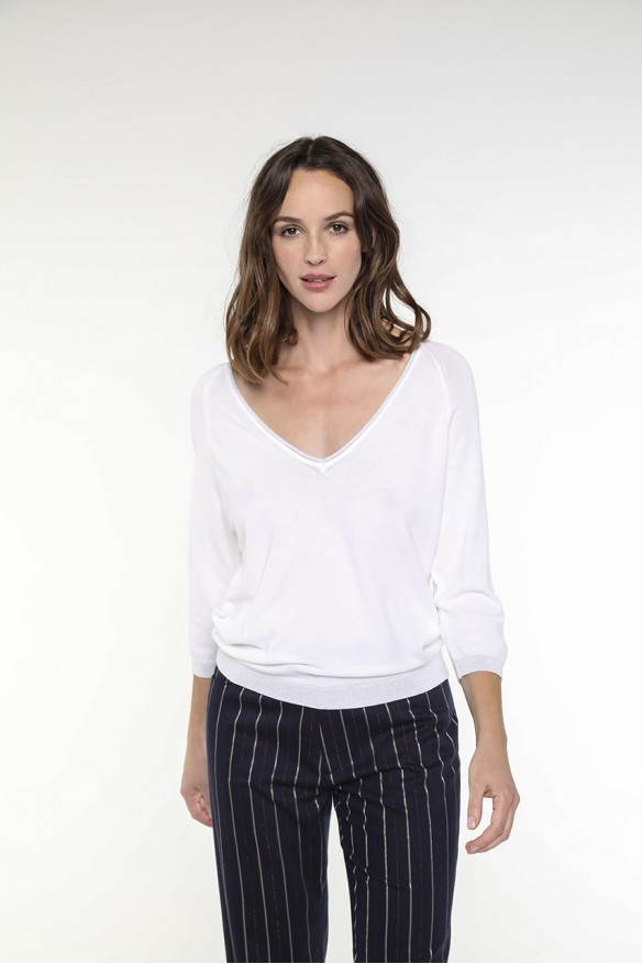 White V-neck sweater with...
