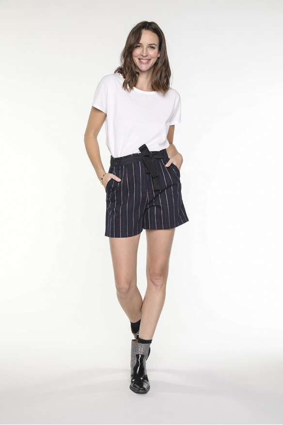 Navy striped belted shorts