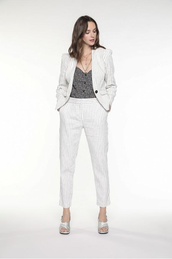 Cotton linen striped jacket