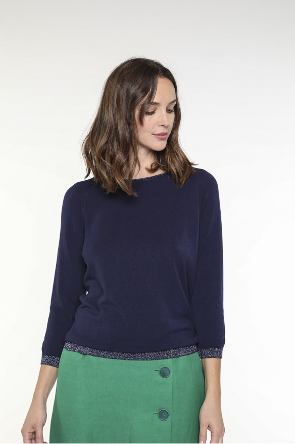 Navy blue sweater with...