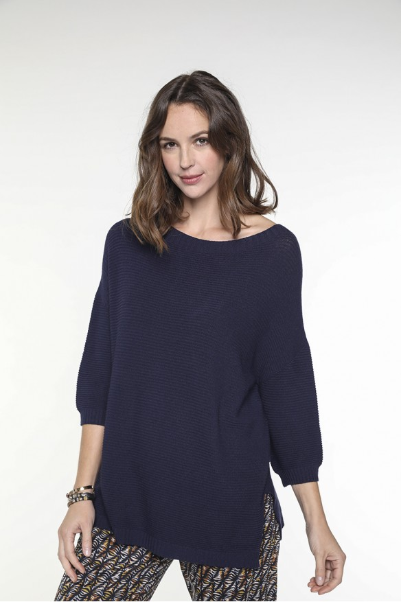 Navy blue sweater with boat...
