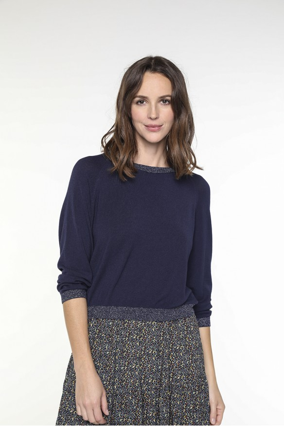 Navy blue V-neck sweater...