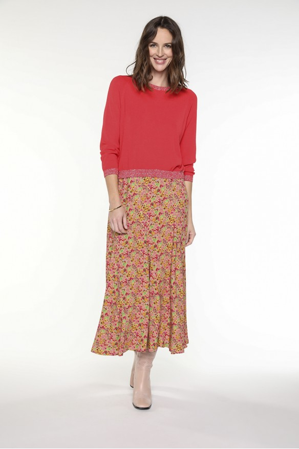 Pink floral printed long skirt