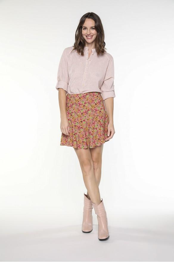Pink floral printed culotte...