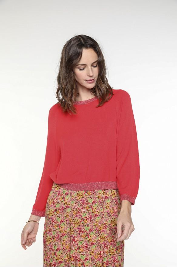 Orange-red pullover V...