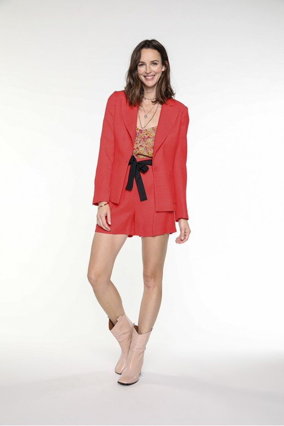 Poppy red viscose linen jacket