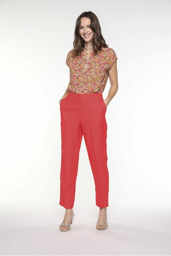 Poppy red viscose linen pants