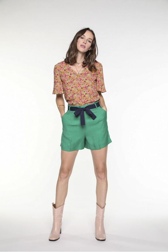 Emerald green belted shorts...