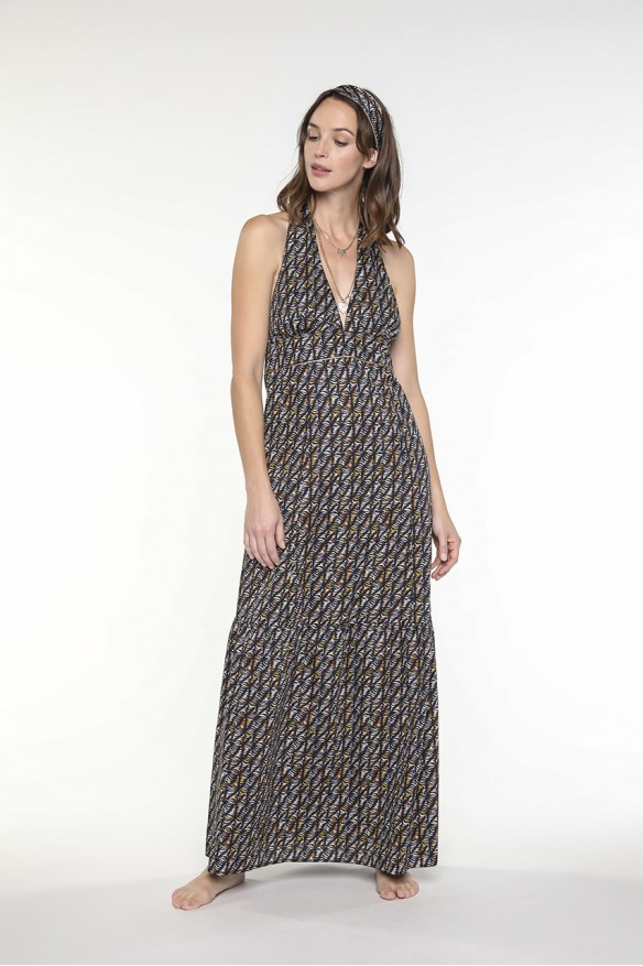 Etnic printed long halter...