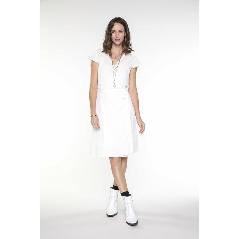 Off white viscose short sleeves wrap dress - Chemins Blancs