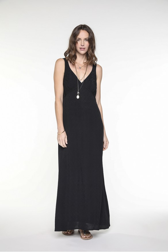 Long black viscose dress