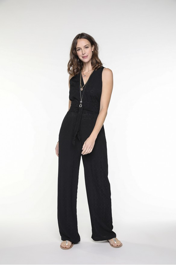 Black belted viscose jumpsuit