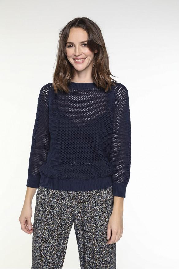 Navy blue openwork sweater