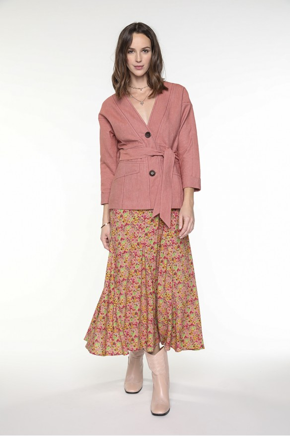 Veste kimono ceinturée en...