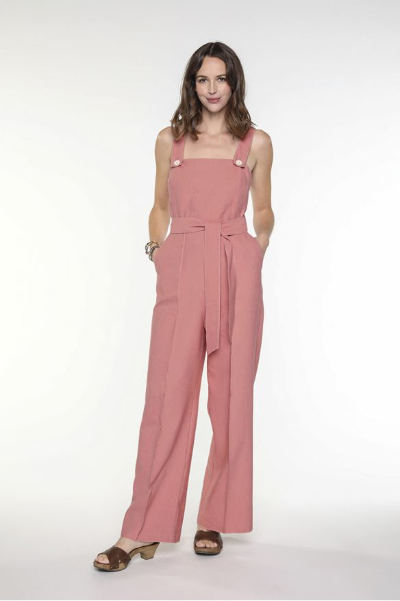 Brick coloured jumpsuit with straps in cotton canvas linen