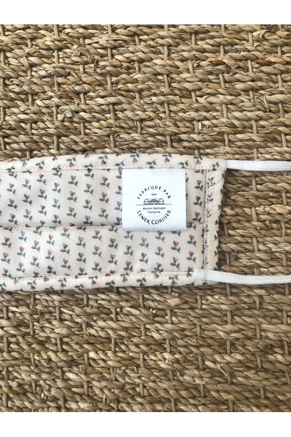 Packs of 10 white barrier mask with little flowers