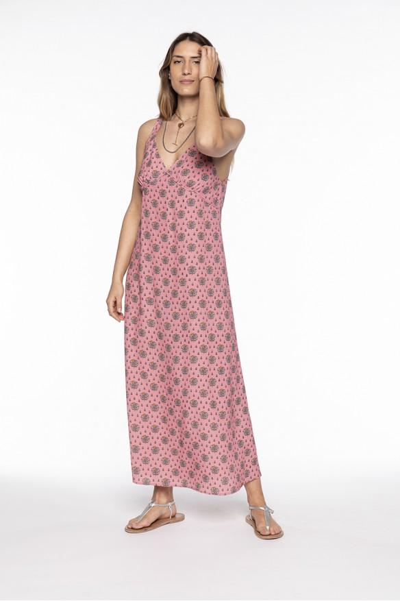 Long printed viscose dress