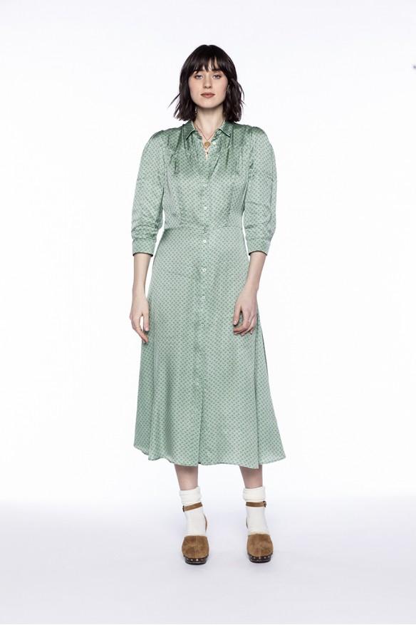 Almond green printed shirt...