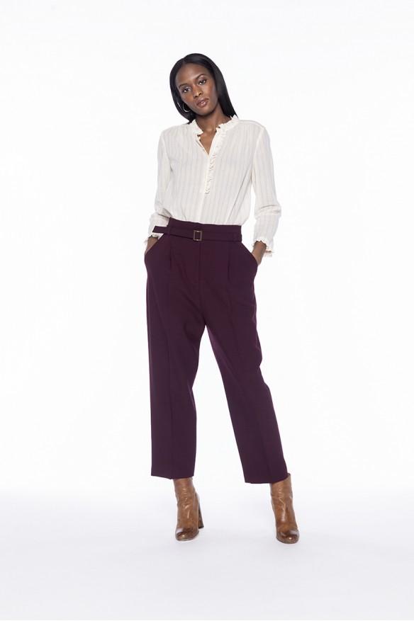 Pantalon à plis en laine mélangée bordeaux