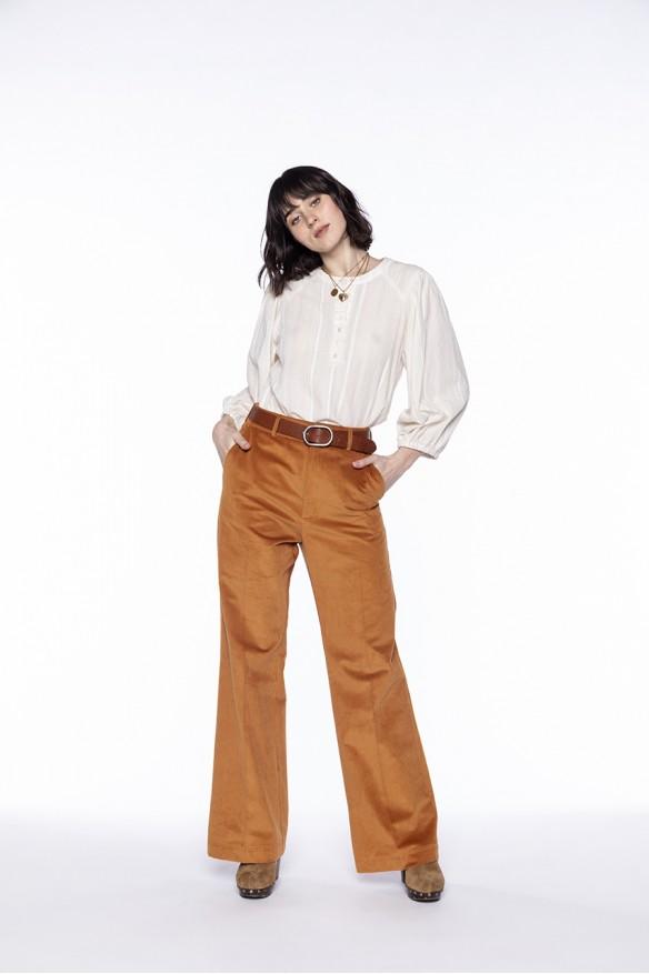Ochre corduroy flared trousers