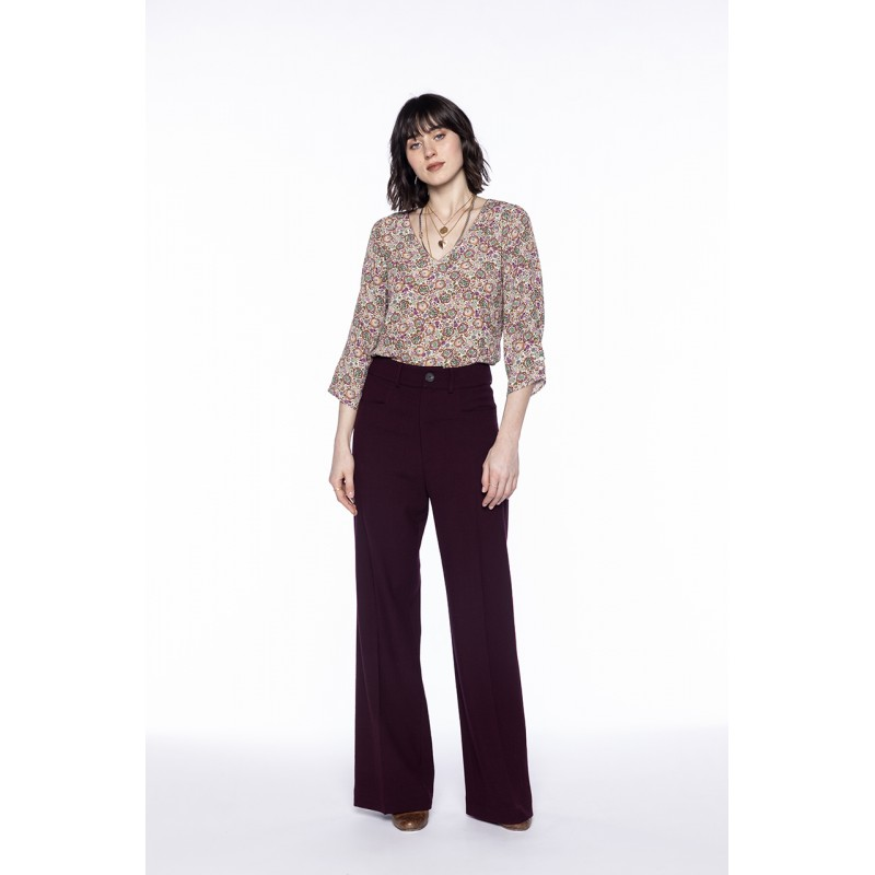 Pantalon flare en laine mélangée bordeaux