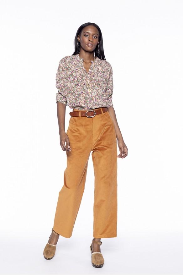 Pantalon carotte façon worker en velours côtelé ocre