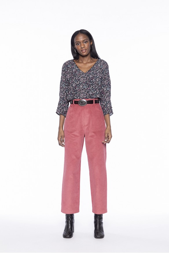 Pink corduroy worker trousers