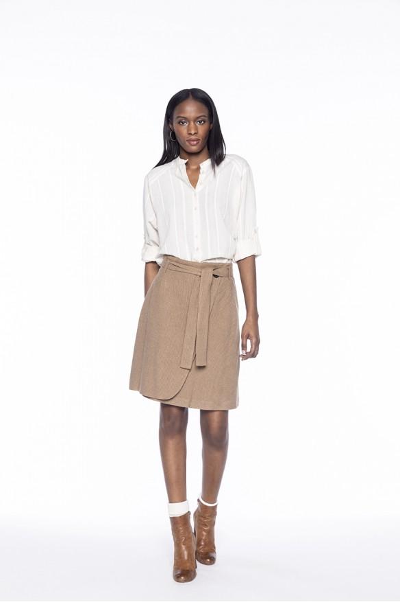 Beige wrap skirt with fine...