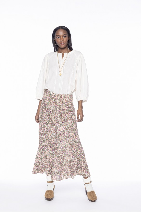 Off-white long floral...