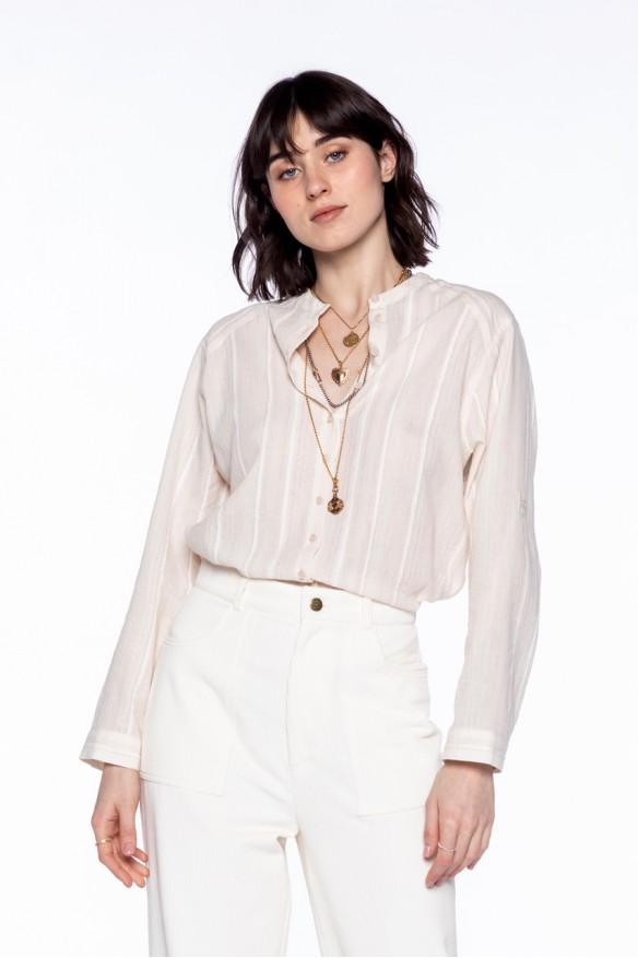 Chemise sans col en coton à rayures lurex