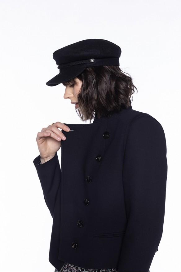 Veste courte noire col mao
