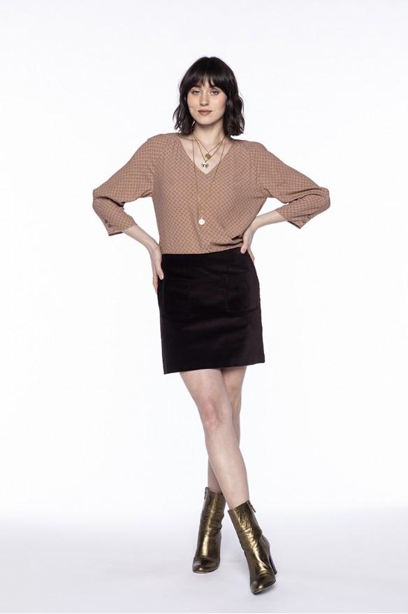 Chocolate velvet mini skirt