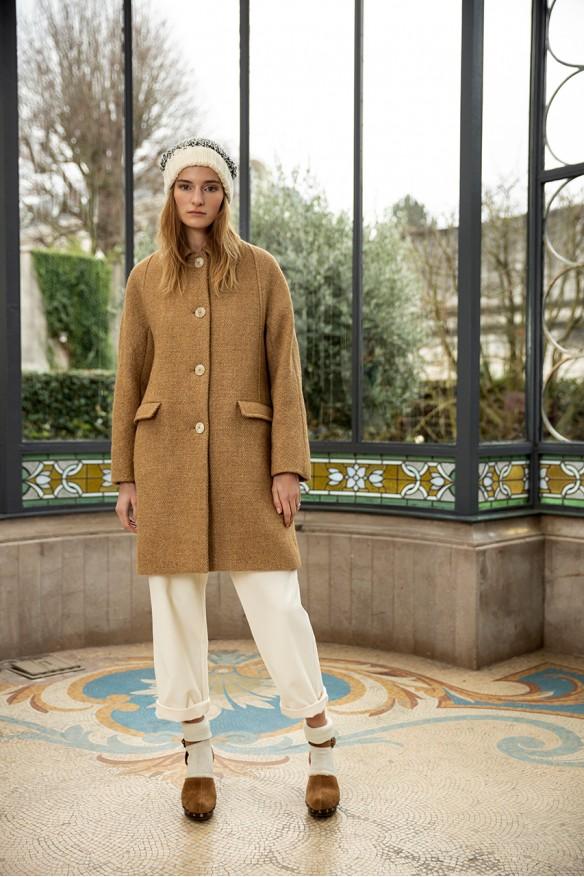 Camel wool kimono coat